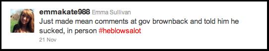Emma Sullivan tweets Twitter at Governor Sam Brownback