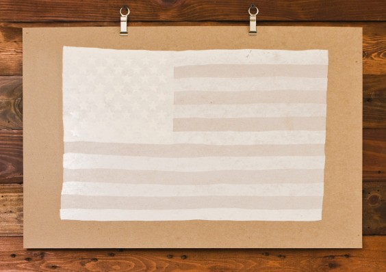 American Flag Art Print (White)